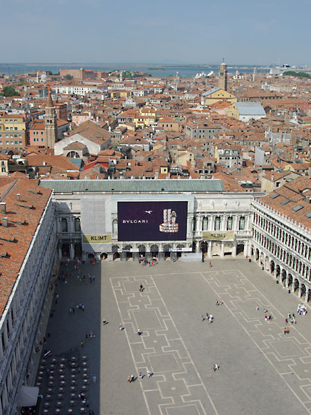 The view over St Mark's Square from the Campanile di San Marco in Venice, Italy. Read my travel series - A View From The Top.