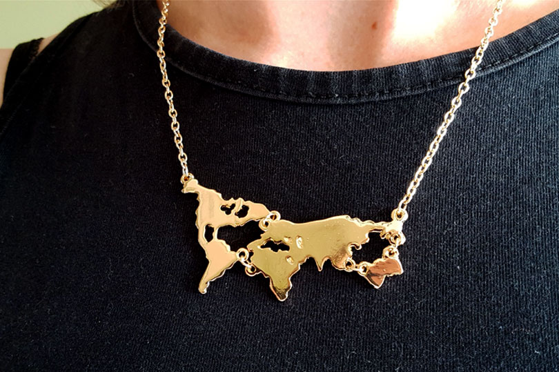 World map necklace from comuse travels quirky little planet gumiabroncs Gallery