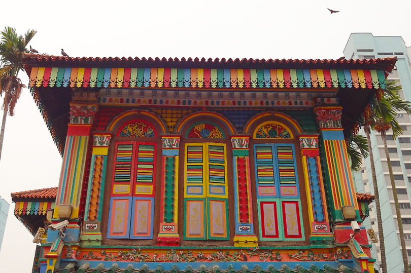 Colourful building in Little India, Singapore