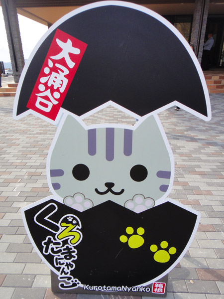 Black Egg Kitty - a mascot at Owakudani where you can buy blackened eggs cooked in volcanic pools