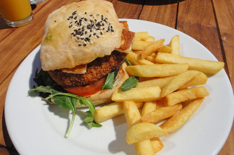Chickpea, halloumi and pesto burger at Trout restaurant in Wanaka, New Zealand