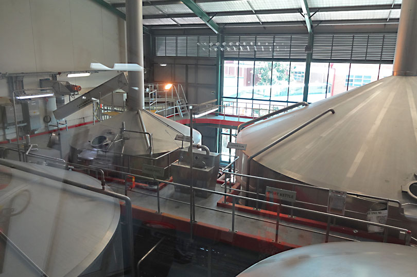 Beer on the conveyor belts at the XXXX brewery in Queensland