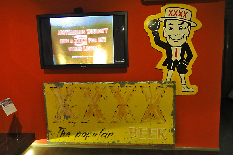 Mascot and paraphernalia at the XXXX brewery