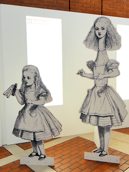 John Tenniel's illustrations for Alice in Wonderland. Cardboard figures part of the exhibit at the British Library.