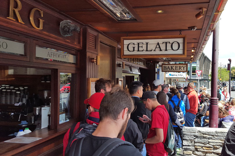 The queue for Fergburger in Queenstown New Zealand