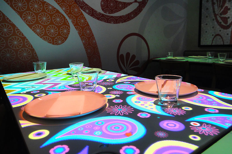 Funky patterns as digital tablecloths - the future of restaurants at Inamo Soho
