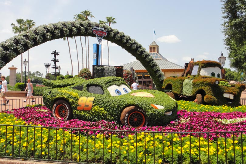 Cars 2 topiary at the Epcot Flower and Garden Festival