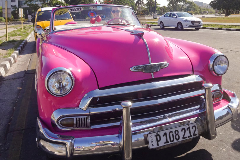 1952 pink chevrolet in Havana, Cuba. A must do for any girl about town!