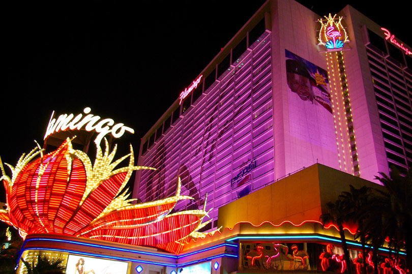 Bright lights of the fabulously pink Flamingo Hotel on the Las Vegas strip.