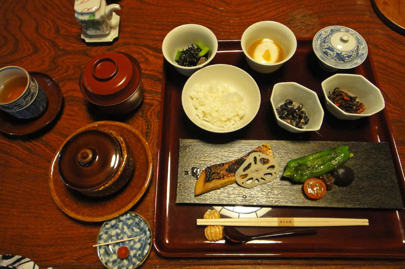 Japanese breakfast at a ryokan