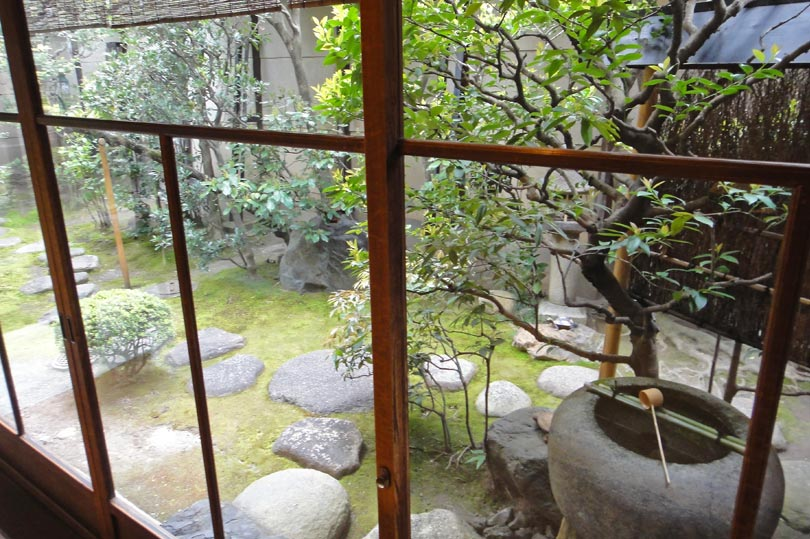 Japanese garden view at our ryokan