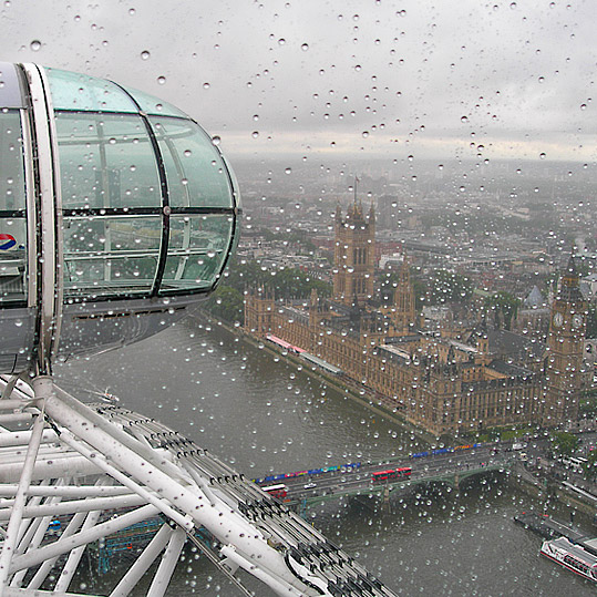 View from the London Eye on a dreary day in June