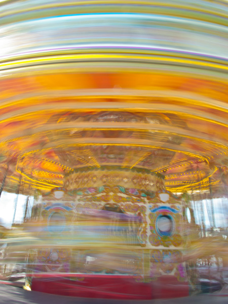 Spinning carousel in Brighton, England - part of a fun photo challenge