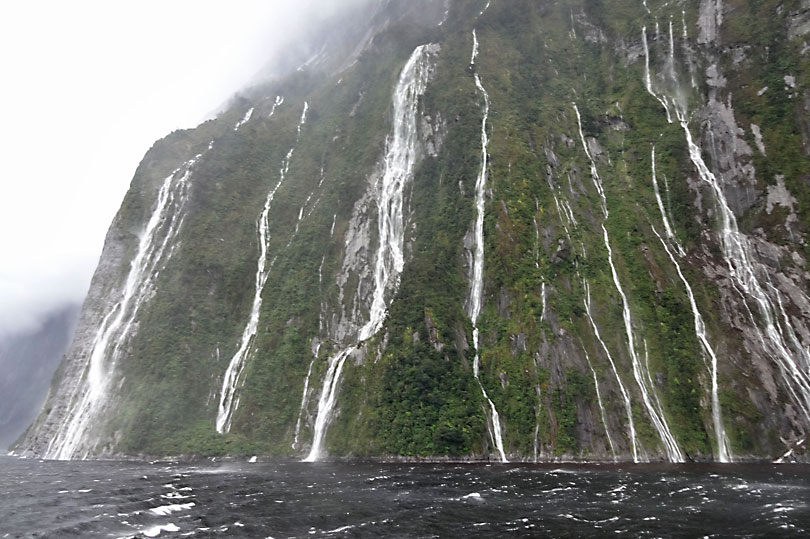 Many waterfalls can be seen at Milford Sound when it rains